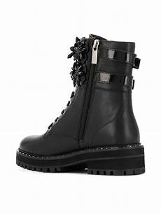 liu jo leather pink combat boots in black lyst