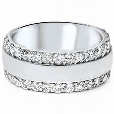 2 3 4ct diamond double row 8mm wide wedding band 14k white gold ebay