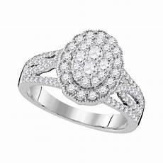 10k white gold round diamond oval cluster bridal wedding engagement ring 1 ctw diamond