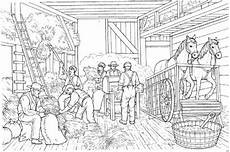 Ausmalbild Pferde Bauernhof Malvorlage Getreideernte Bauern Und Pferde In Der Scheune