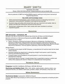 sle resume for an entry level mechanical engineer monster com