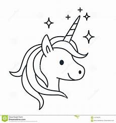 simple magic unicorn vector line illustration