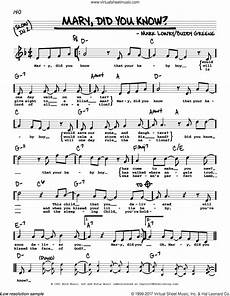 greene mary did you know sheet music real book with lyrics