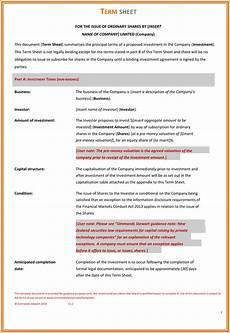 terms sheet template choose from 9 term sheet templates