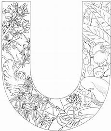 letter u with plants coloring page from alphabet