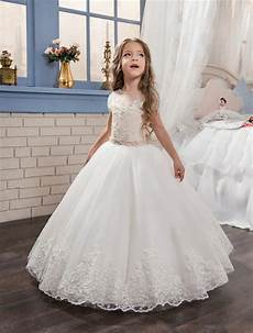 2017 new white lace pearls first communion dress for little girls pageant gown short sleeve