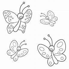 Malvorlage Schmetterling Kinder Ausmalbild Natur Vier Kleine Schmetterlinge Kostenlos