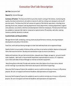 Kitchen Manager Description Pdf by Sle Executive Chef Description 17 Exles In
