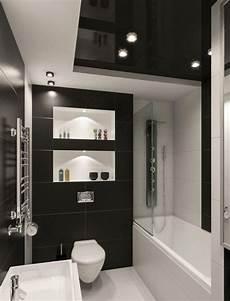 Kleines Badezimmer Fliesen Ideen Schwarz Weiss Kombination