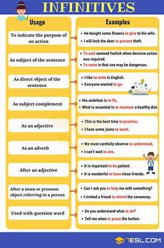 what is the infinitive form of a verb infinitives what is an infinitive functions exles english verbs teaching english