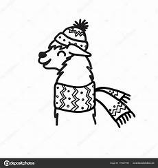 coloring pages to print 17540 vector illustration of character south america lama in winter hat and scarf isolated