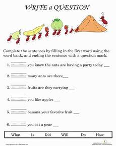writing question sentences worksheets 22220 writing questions worksheet education