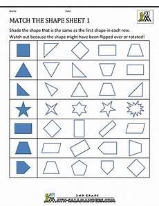 2nd Grade Geometry Worksheets Match The Shape 1 Geometry