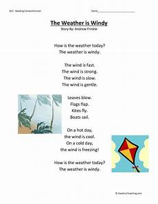 nature and weather worksheets 15158 the weather is windy reading comprehension worksheet teaching