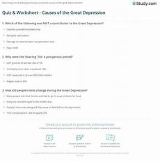 quiz worksheet causes of the great depression study com