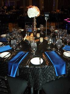 black blue and silver wedding decorations black table cloth w royal blue napkins in 2019 blue party decorations black party decorations