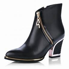 new 2014 silver gold zip thick high heels black ankle