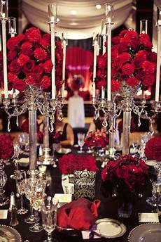 black and red table setting red wedding flowers pinterest