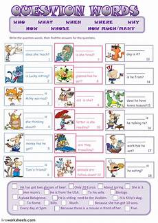 worksheets question words 18435 question words as a second language esl worksheet