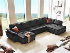 sofa u form wohnlandschaft schwarz 395x210 u form schlafsofa