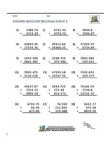 addition of whole numbers worksheets for grade 3 9253 math worksheets for fifth grade adding decimals