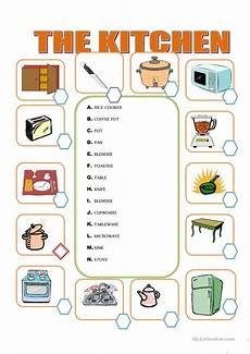 furniture in the kitchen worksheet free esl printable
