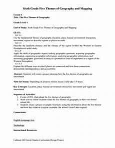 the five themes of geography 7th 9th grade worksheet lesson planet
