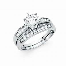 14k solid white gold 1 5 ct bridal engagement 2 piece ring wedding band ebay