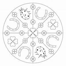 Ausmalbilder Silvester Mandala Gl 252 Cksbringer Mandala Mit Kleeblatt F 252 R Kindergarten Kita