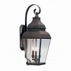 livex lighting 3 light bronze outdoor wall lantern with clear beveled glass 2593 07 the home depot