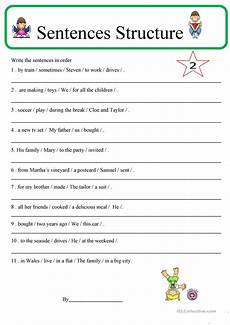 sentence structure 2 worksheet free esl printable