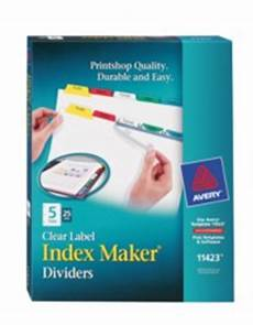 maker clear label dividers with color tabs 11423 5 tab sets