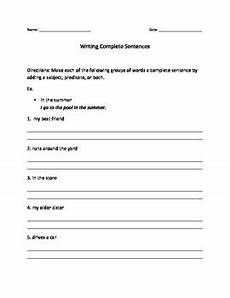writing sentences from pictures worksheets 22214 writing complete sentences worksheet by the differentiation shop