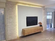 Tv Wall Combined With Gypsum Bricks Lighting