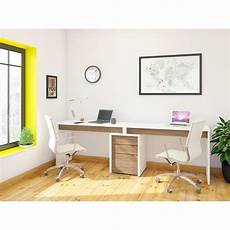 nexera liber t 2 person desk with filing cabinet white
