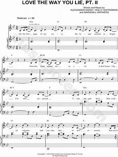 rihanna quot love the way you lie pt ii quot sheet music in g minor transposable download print