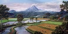 Gambar Pemandangan Gunung Dan Sawah Lukisan