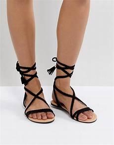 asos fayla tie leg plaited flat sandals asos