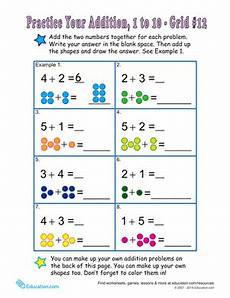single digit addition worksheets with pictures 9628 count the dots single digit addition 12 worksheet education