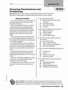 drawing conclusions and predicting worksheet for 4th 5th grade lesson planet
