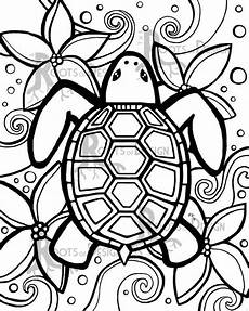 instant download coloring page simple turtle zentangle inspired doodle art printable easy