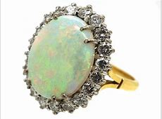 Large Opal & Diamond Cluster Ring   The Antique Jewellery