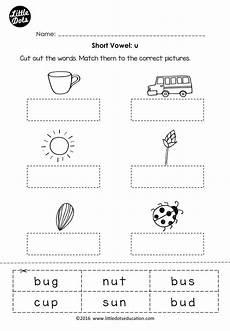 free short vowel u worksheet for preschool or kindergarten class phonics vowel worksheets