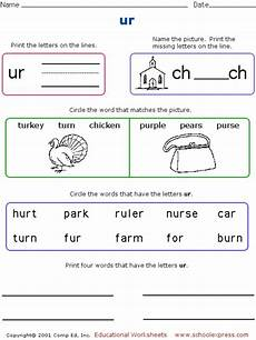 phonics worksheets ur sound phonics worksheet quot ur quot worksheet for 1st 2nd grade lesson planet