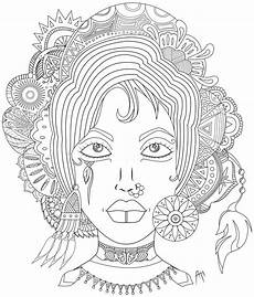 Mandala Frau - feather coloring pages for adults