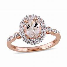 oval morganite white topaz and diamond accent frame engagement ring in 14k rose gold view all
