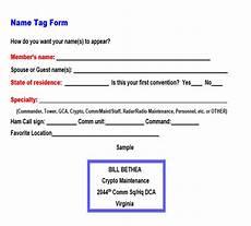 registration name tag forms