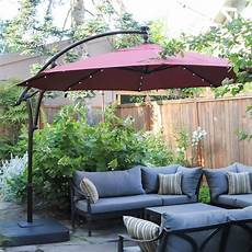 hton bay 11 ft led offset solar umbrella review luxurious shade