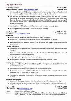 exle cover letter quantity surveyor template resume