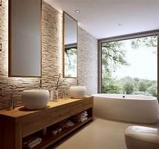 natursteinwand holz waschtisch und spiegel mit
